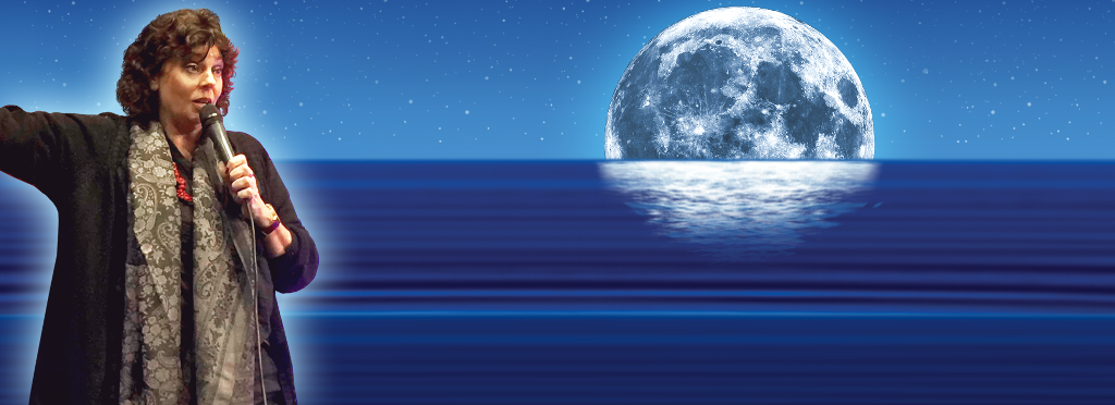 Lorraine Nilon with mic and ocean and moon background