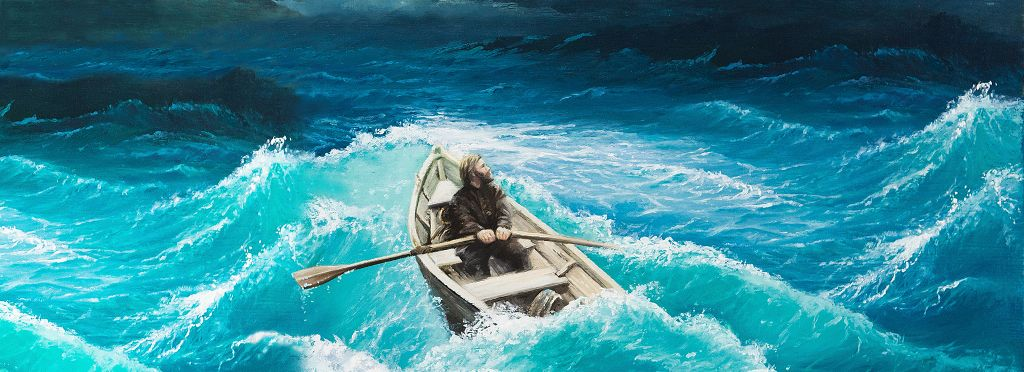 A man rowing is tumult water